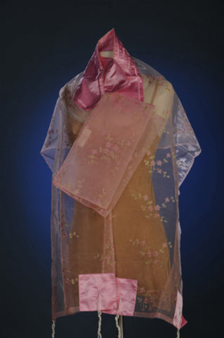 Tallit ADE 134 - Pink Organza with Flower Pattern