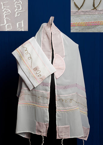 Tallit ADE 1 - White Chiffon Organza with Pink Trim