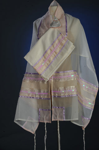 Tallit ADE 2 - White Organza with Soft Colors