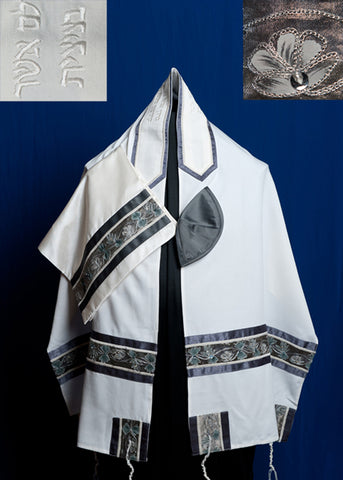 Tallit ADE 862 - White Brushed Cotton with Two Tone Silver Grey Design