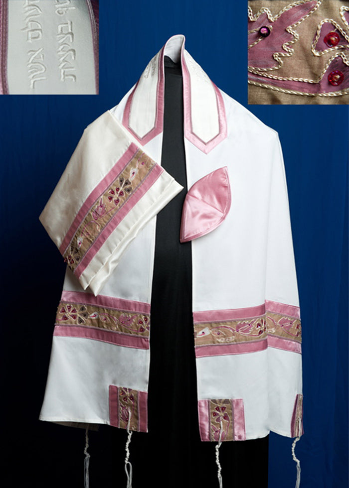 Tallit ADE 863 - White Brushed Cotton with Pink and Khaki Applique Design