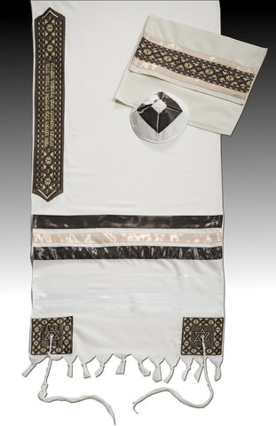 Men's Tallit Set-Argaman-David-Item#DA-Brown-107