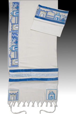 Men's Tallit Set-Argaman-Jerusalem Blue-Item#JR-Blue-138