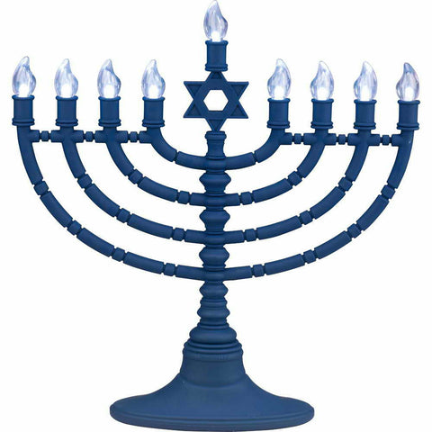 Blue Battery Operated LED Menorah-Item#RLJRN-4