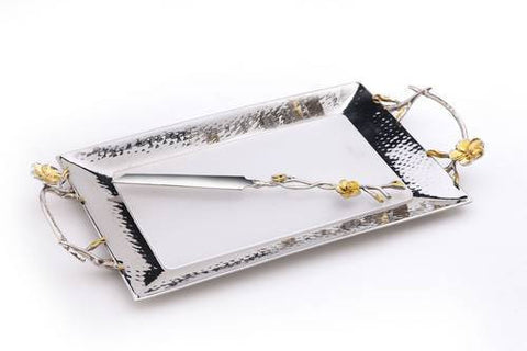 Classic Giftware Challah Tray w/Knife-Hammered Stainless Steel w/Nickel Sprinkled Gold Brass Frangipani-Item#JSCTL15L