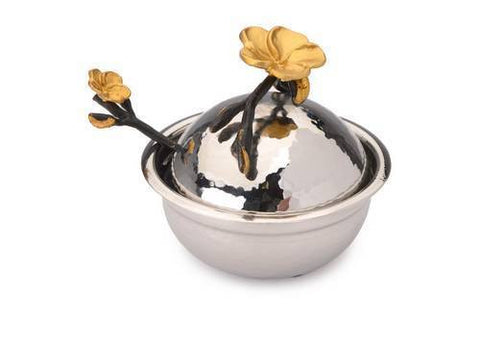 Classic Giftware Honey Dish-2-Tone Stainless Steel w/Black and Gold Brass Frangipani-Item#JHDF25