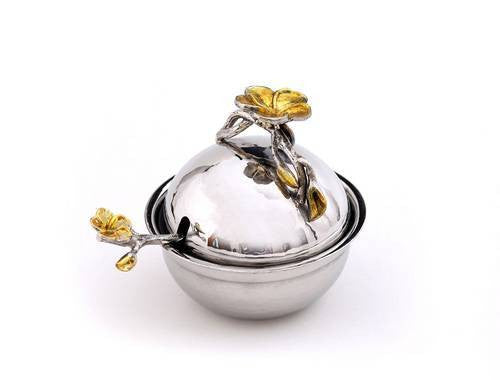 Classic Giftware Honey Dish-2-Tone Stainless Steel with Nickel Sprinkled w/Gold Brass Frangipani-Item#JHDS25