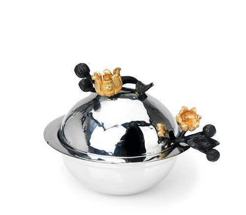 Classic Giftware Honey Dish-2-Tone Stainless Steel w/Black and Gold Brass Lily-Item#JHD25L