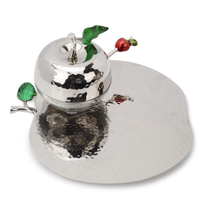 Classic Giftware Hammered Stainless Steel Apple Honey Dish w/Apple-Shaped Tray-Item#JHT342E