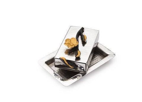 Classic Giftware Match Box-2-Tone Hammered Stainless Steel w/Black & Gold Brass Frangipani-Item#JFMB37