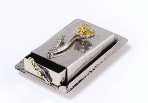 Classic Giftware Match Box-2-Tone Hammered Stainless Steel with Nickel Sprinkled w/Gold Brass Frangipani-Item#JSMB37