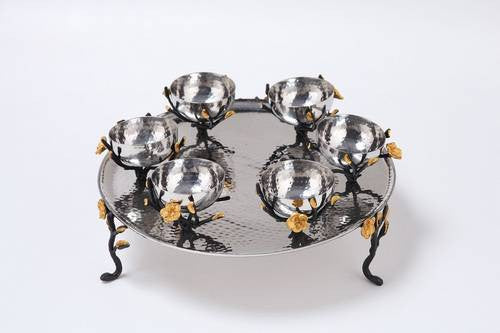 Classic Giftware Footed Seder Plate-2-Tone Hammered Stainless Steel w/Black & Gold Brass Frangipani-Item#JFD49