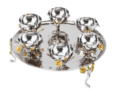 Classic Giftware Footed Seder Plate-2-Tone Hammered Stainless Steel w/Nickel Sprinkled with Gold Brass Frangipani-Item#JSSD49