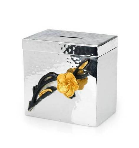 Classic Giftware Tzedakah Box-2-Tone Hammered Stainless Steel w/Black and Gold Brass Frangipani-Item#JFCB17