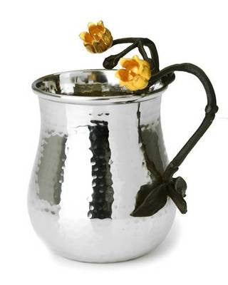 Classic Giftware Wash Cup- 2-Tone Stainless Steel w/Black & Gold Brass Lily-Item#MLW30