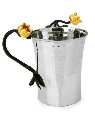 Classic Giftware Wash Cup- 2-Tone Stainless Steel w/Black & Gold Brass Lily-Square-Item#MLW40