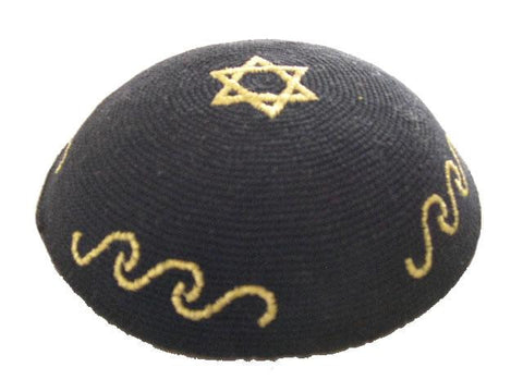 Knit Yarmulke - Black w/ Gold Star of David & Wavy Lines-Item#KN-35