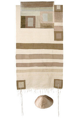 Emanuel Tallit-Raw Silk - Gold Stripes-Item#TRS-6