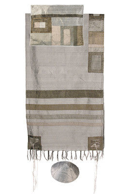 Emanuel Tallit-Raw Silk - Gray on Gray Stripes-Item#TRS-3