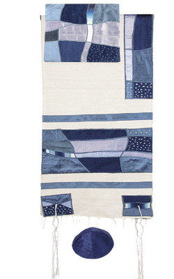 Emanuel Tallit-Raw Silk - Abstract Blue-Item#TSD-2