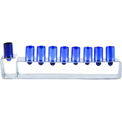 Emanuel Contemporary Menorah-Blue Anodized Aluminum-Item#HMG2