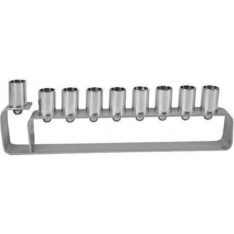 Emanuel Contemporary Menorah-Silver Anodized Aluminum-Item#HMG1
