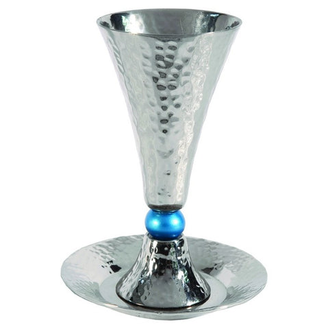 Emanuel Kiddush Cup-Hammered Nickel/Turquoise Orb-Item#CUC-3
