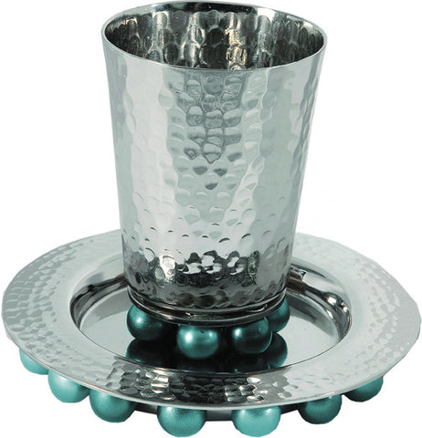 Emanuel Kiddush Cup-Hammered Nickel/Plate with Turquoise Beads-Item#CUA-3