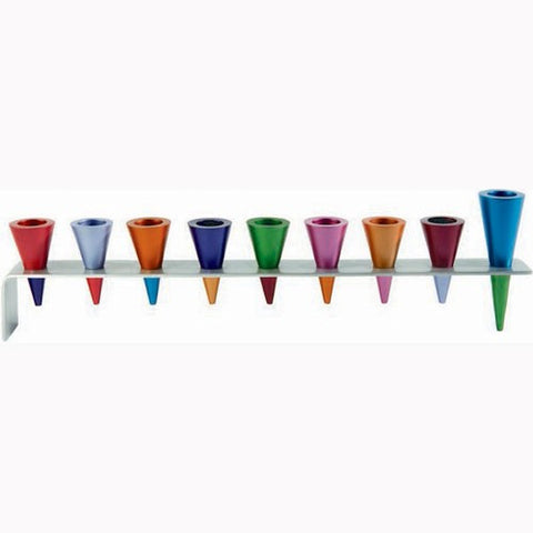 Emanuel Menorah-Multi-Colored Anodized Aluminum Cones-Item#HMK-3