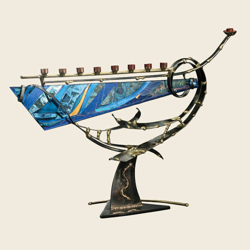 Gary Rosenthal Large Swirled Glass Menorah-Item#A6