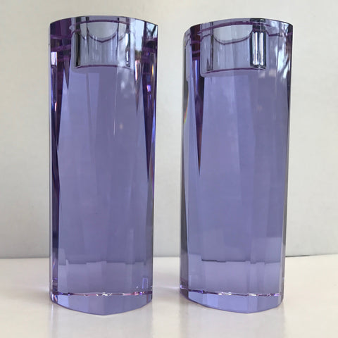Beautiful Lavender Crystal Candlesticks