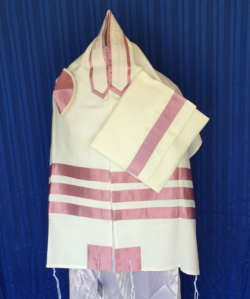 Tallit ADE 720 - White Brushed Cotton Trimmed with Pink Stripes (Also Available in a Variety of Hues)