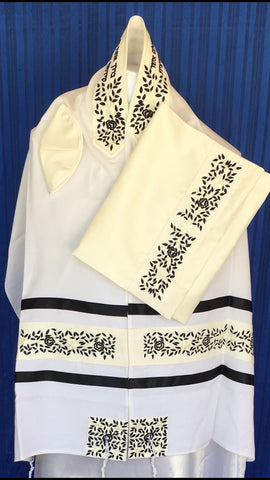 Tallit ADE 104 BK - Soft Brushed Cotton, Embroidered with Black Flowers (Also Available in a Variety of Colored Embroideries)