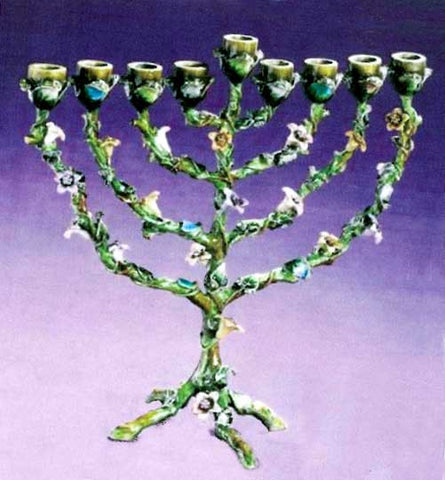 Jeweltone  & Enamel Floral Menorah-Item#RS333CS