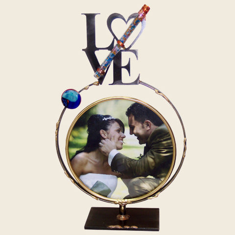 Large Circular Frame with LOVE and Shards Tube
