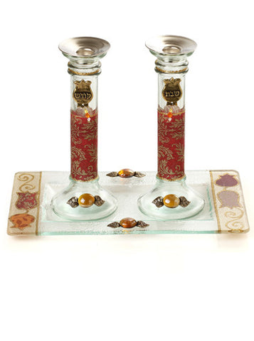 Lily Art-Candlesticks w/tray-burgundy & gold swirl-Item#500796-6