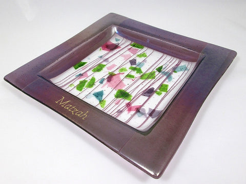 Art Glass-Amethyst Dreams-Matzah Plate