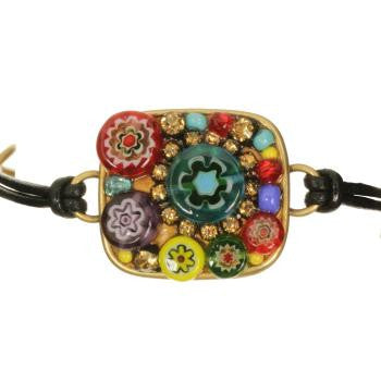Michal Golan Bracelet-Square Millefiori Leather -Item#SB327