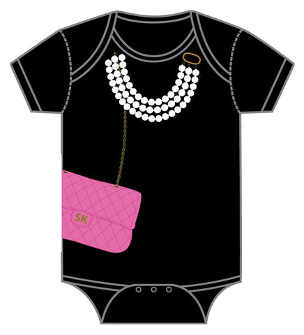 Onesie-Pink Bag With Pearls