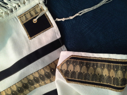 Precious Heirlooms Tallit Set-Gold Feather-Item#S-72