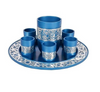 Anodized Aluminum with Silver Lace Detail Kiddush Cup Set - Emanuel