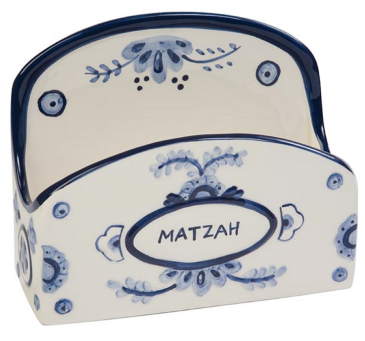 Ceramic Stand-Up Delft-Look Matzah Holder