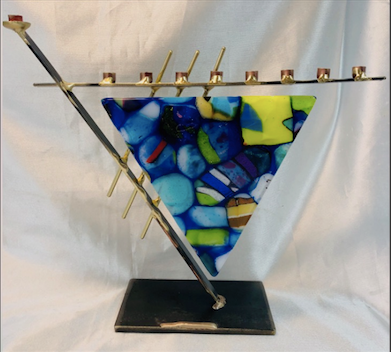Gary Rosenthal Art Glass Menorah