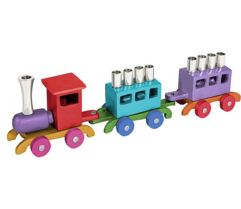 Emanuel - Anodized Aluminum Children's Train Hanukkah Menorah