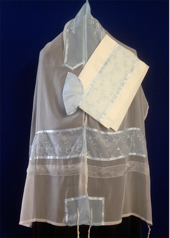 Tallit ADE 19 - Soft White Organza with Delicate Baby Blue Flowers