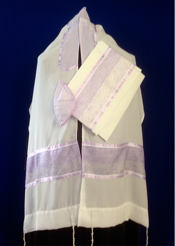 Tallit ADE 7 - White with Lavender Trim