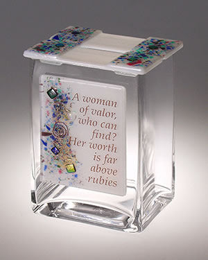 Beames Glass Tzedakah Box-Woman of Valor