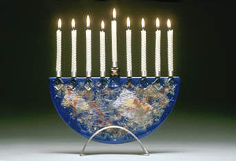 Beames Blue Collage Menorah-Item#JM7