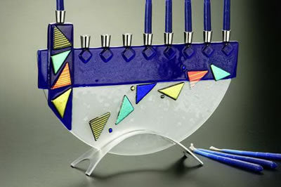 Beames Mosaic Blue Menorah-Item#JM25