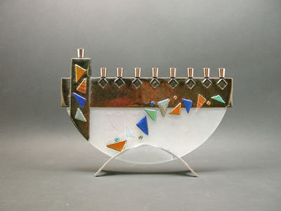 Beames Mosaic Iridized Gold Menorah-Item#JM26